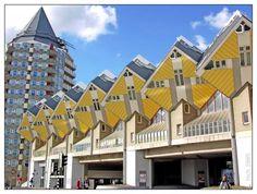 Yellow cube houses! goo.gl/33uo5 netherland, houses, cube hous, architect piet, rotterdam, architectur, cubes, piet blom, cubic hous