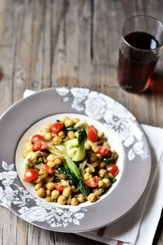 Curried Chick Peas and Bok Choy Salad