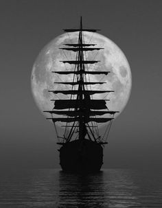 pirate ship | full moon | pirates