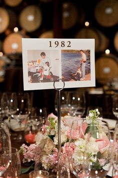 I like this idea but I would do it by age & table number. (ie Table Two, pics of bride & groom at age two) I also want a quote on love written under the number or at the bottom of the pics