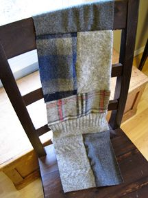 recycled wool sweater scarf and blanket - good tutorial