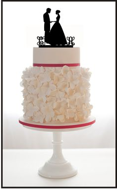 Custom Wedding Cake Topper Silhouette Monogram With by Mclaserpro, $25.00
