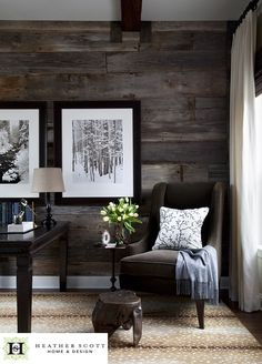 love the wood walls. for our office?