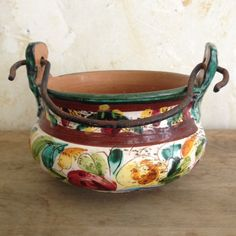 vintage Italian ceramic pot with iron handle - bright flowered design on Etsy, $24.00
