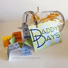 """DIY """"Daddy Days"""" Father & Son Activity Jar Such a cute idea for Father's Day!  While He Was Napping: {Printable}"""