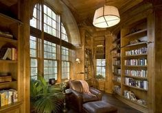 Unusual library room with gorgeous window