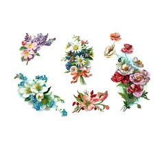 vintage flowers- floral tattoo pack- 5 temporary tattoos. $20.00, via Etsy.