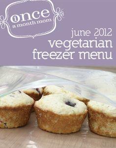 Freezer vegetarian menu seasonal to June. Recipe cards, grocery list, instructions and more.