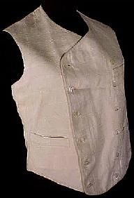 Men's White Double-Breasted Vest, Late 1800s