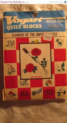 Vintage Vogart Transfer Pattern - flowers of the United States