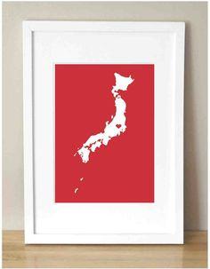 japan earthquake tsunami relief, japan silhouette 11x14, $40.00, for UNICEF, by Lili Gene
