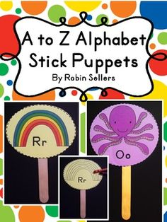 Practice letter recognition with two sets of A to Z stick puppets (beginning letters) with two options for E and X. The first set consists of black...