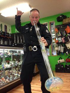 Doin' the bull dance... feelin' it. #police love #marijuana too. #bong #ithc colorado cop, funni stuff, cops, weed, humor, high, 420, smoke, marijuana