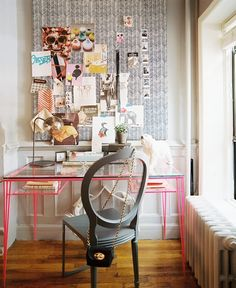 interior design, office spaces, pin boards, bulletin boards, inspiration boards, desks, pink, home offices, workspac