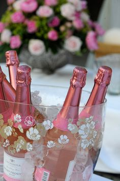 Pink Champagne wine, bottl, rose, champagne, pink champagn, garden parties, bubbl, ice bucket, bridal showers