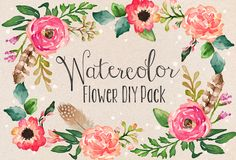 Watercolor Flower DIY Pack by Graphic Box on Creative Market