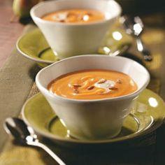 Pear Squash Bisque with Cinnamon Cream. #food #pears #squash #soup #autumn