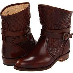 Frye Dorado Short Woven Boot in Dark Brown