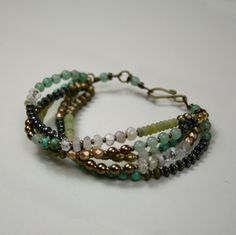 Willow Bracelet ~ Five-strand pale green jade, sea green jade, picture jasper, brass, hematite, antique brass   #handmade #jewelry