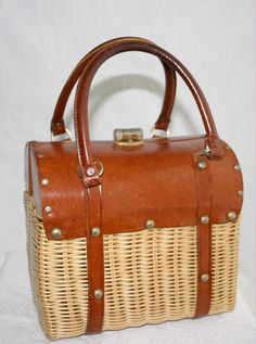 Wicker and leather handbag from the '60s