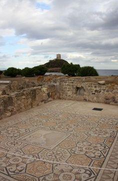 Roman mosaic (2nd/3rd century CE) in Nora, coast of Sardinia, Italy
