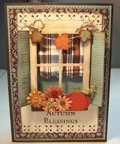 Bug Junkie cards fall, autumn flowers, fall window, fall cards, door, autumn cards, window card, autumn window, bug junki