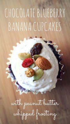 Healthy Chocolate Blueberry Banana Cupcakes