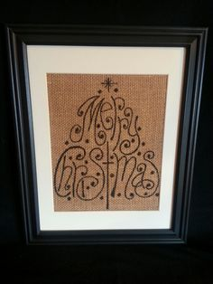 Merry Christmas Burlap painting. $25.00, via Etsy.