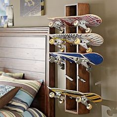 Skateboard rack--boy's room skateboards, rustic skateboard, skateboard rack, organ, boys room skateboard, boys skateboard room, skateboard display, boy room, kid