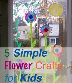 5 Simple Flower Crafts for Kids #parenting #Spring