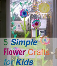 5 Simple Flower Crafts for Kids #parenting #Spring coffee filter crafts kids, glass doors, activities for kids, window, flower crafts, coffee filter flowers, paint, spring crafts, coffee filters