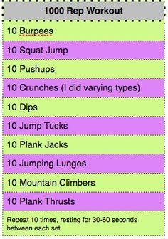 1000 rep workout!