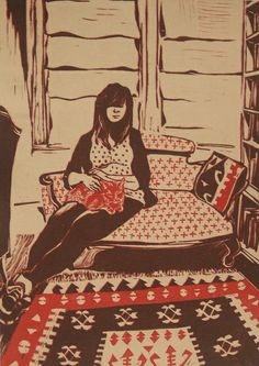 Hannah - linocut  by Alison Roth Cooley