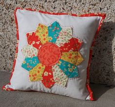 Coral and Turquoise Lovely Dresden Plate Quilted by HotPinkPeonies