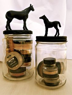 DIY Cute horse jars | Dollar store plastic horses, glue, pickle jar, and spray paint.