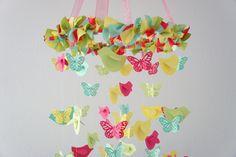 Bright Nursery Decor Mobile with Butterflies & Birds