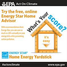 Try the Energy Star home energy yardstick to learn how to increase your energy efficiency, save up to 20% annually on bills and #ActOnClimate.