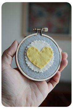Embroidery Hoop Art Yellow Felt Heart on Grey Wall by CatshyCrafts, $20.00