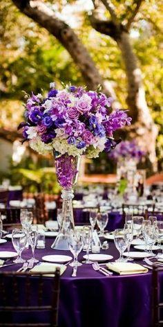 Purple Reception Centerpieces