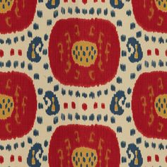 Samarkand in Pompeian Red/Oxford Blue from Brunschwig & Fils #fabric #cotton #linen #ikat #red #blue #yellow