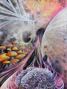 Psychedelic Mushroom Brain Painting