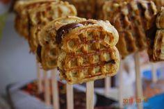 Mini Nutella-waffle sammies... on sticks!