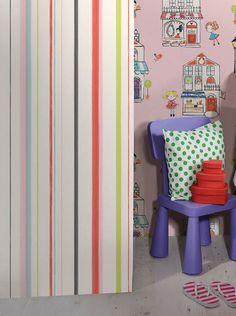 Dordon | Papel de parede listrado | Padrões de papel de parede | Papel de parede dos anos 70