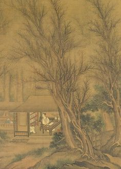Liu Du // Reading Yi Jing On An Autumn Night, detail, 1646