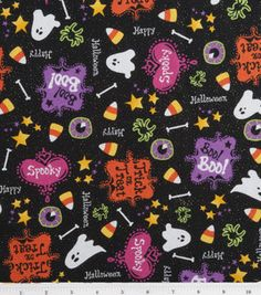 Holiday Inspirations Fabric-Happy Halloween with Glitter