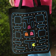 Pac Man Fabric Paint Tote. I'd change it to Ms. Pac Man!