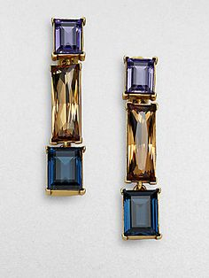 Oscar de la Renta Tri-Color Faceted Drop Earrings