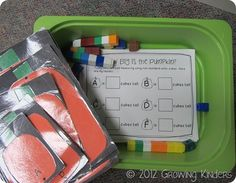 Terrific post with lots of great pumpkin math (and literacy) activities. Includes downloads of student recording sheets.