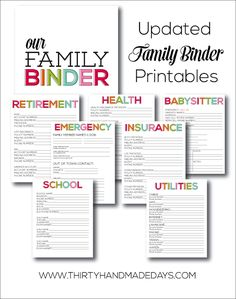 How to Make and Maintain a Family Binder by 30 Handmade Days