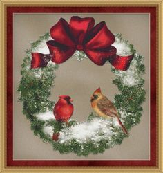 Counted Cross Stitch Pattern Bird Wreath Cross Stitch Pattern / Design. $2.95, via Etsy.